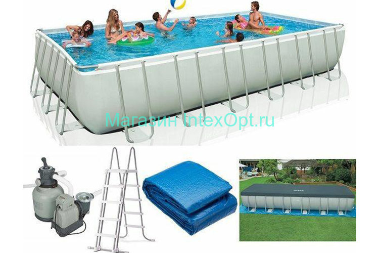 28362 Intex Бассейн каркасный Intex Rectangular Ultra Frame Pool в Москве, Митинская 27